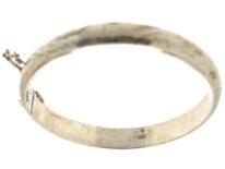 Narrow Silver Bangle with Engraved Design