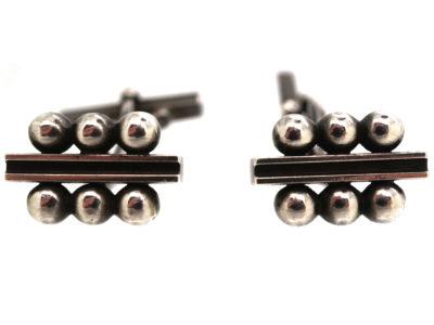 George Jensen Silver Cufflinks Designed by  Harald Nielsen