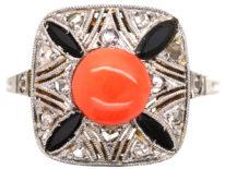 Art Deco 18ct Gold, Platinum, Coral, Onyx & Rose Diamond Ring