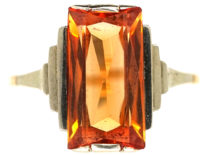 Art Deco 9ct White & Yellow Gold Ring set with a Rectangular Citrine