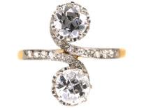 Edwardian 18ct gold & Platinum, Two Stone Diamond Twist Ring