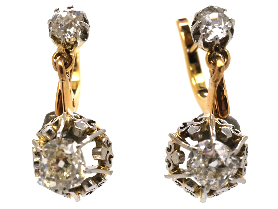 French 18ct Gold Two Stone Diamond Drop Earrings