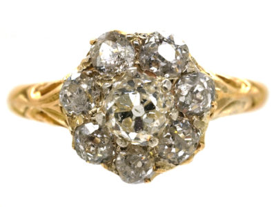 Edwardian 18ct Gold Diamond Daisy Cluster Ring