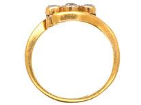 Edwardian 18ct Gold, Platinum, Three Stone Diamond Crossover Ring