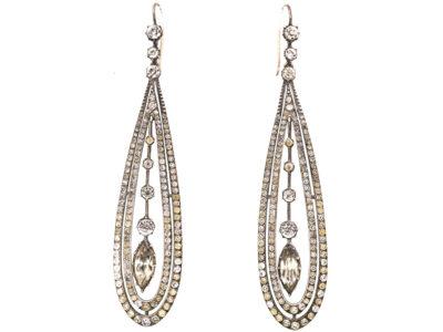 Art Deco Silver & Paste Long Drop Earrings