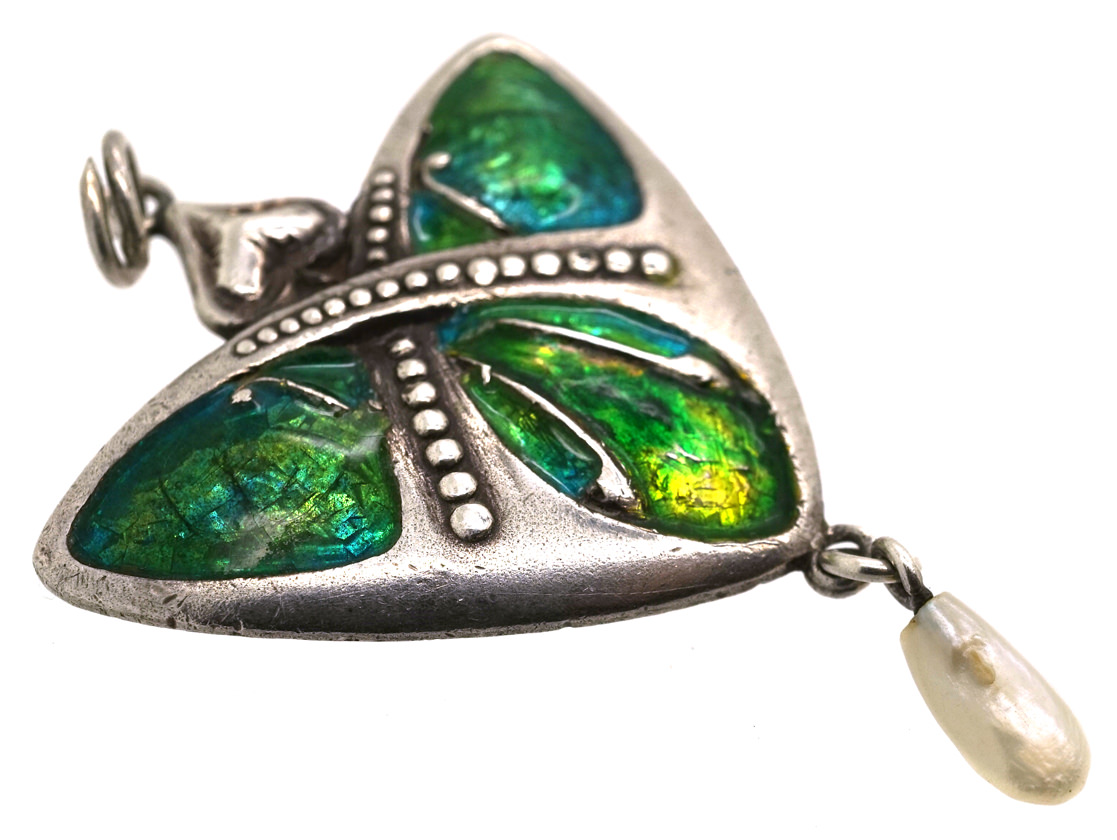 Art Nouveau Silver & Enamel Pendant with Pearl Drop