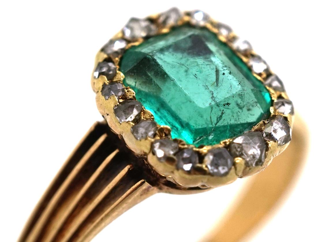 Edwardian 18ct Gold, Emerald & Rose Diamond Ring