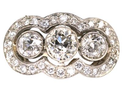 Art Deco 18ct Gold & Platinum Three Stone Diamond Ring with Diamond Border