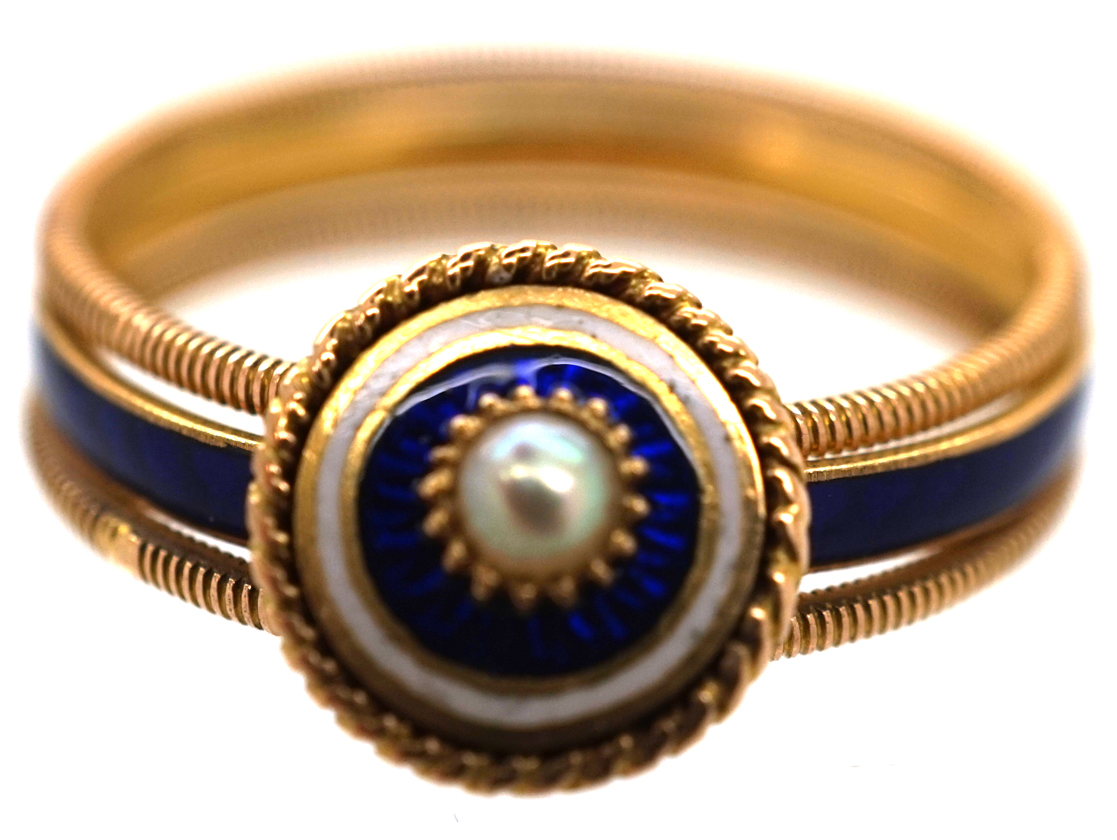 Georgian 18ct Gold, Triple Band, White & Royal Blue Enamel Ring with a Central Natural Split Pearl