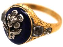Georgian 18ct Gold, Royal Blue Enamel & Diamond Forget Me Not Ring