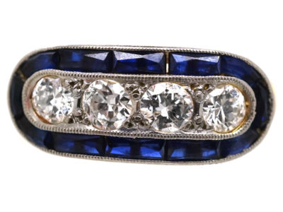 Art Deco 18ct Gold & Platinum, Sapphire & Diamond Boat Shaped Ring