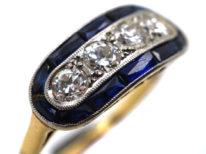 Art Deco 18ct Gold & Platinum, Sapphire & Diamond Boat Shaped Ring