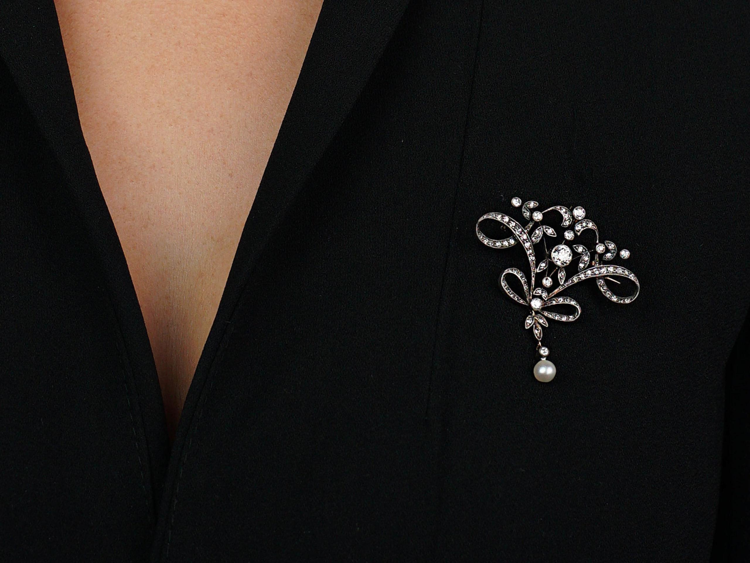 Art Nouveau Platinum& 15ct Gold, Diamond & Natural Pearl Brooch & Pendant