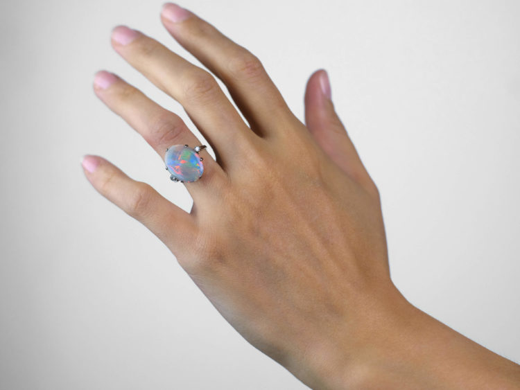 Art Deco 18ct White Gold Harlequin Opal & Diamond Ring