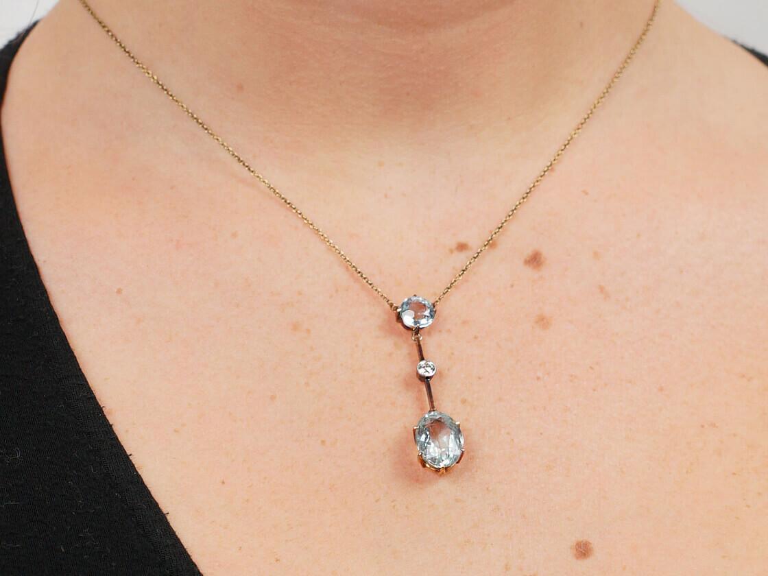 Art Deco 15ct Gold & Platinum, Two Stone Aquamarine & Diamond Drop Pendant on 15ct Gold Chain