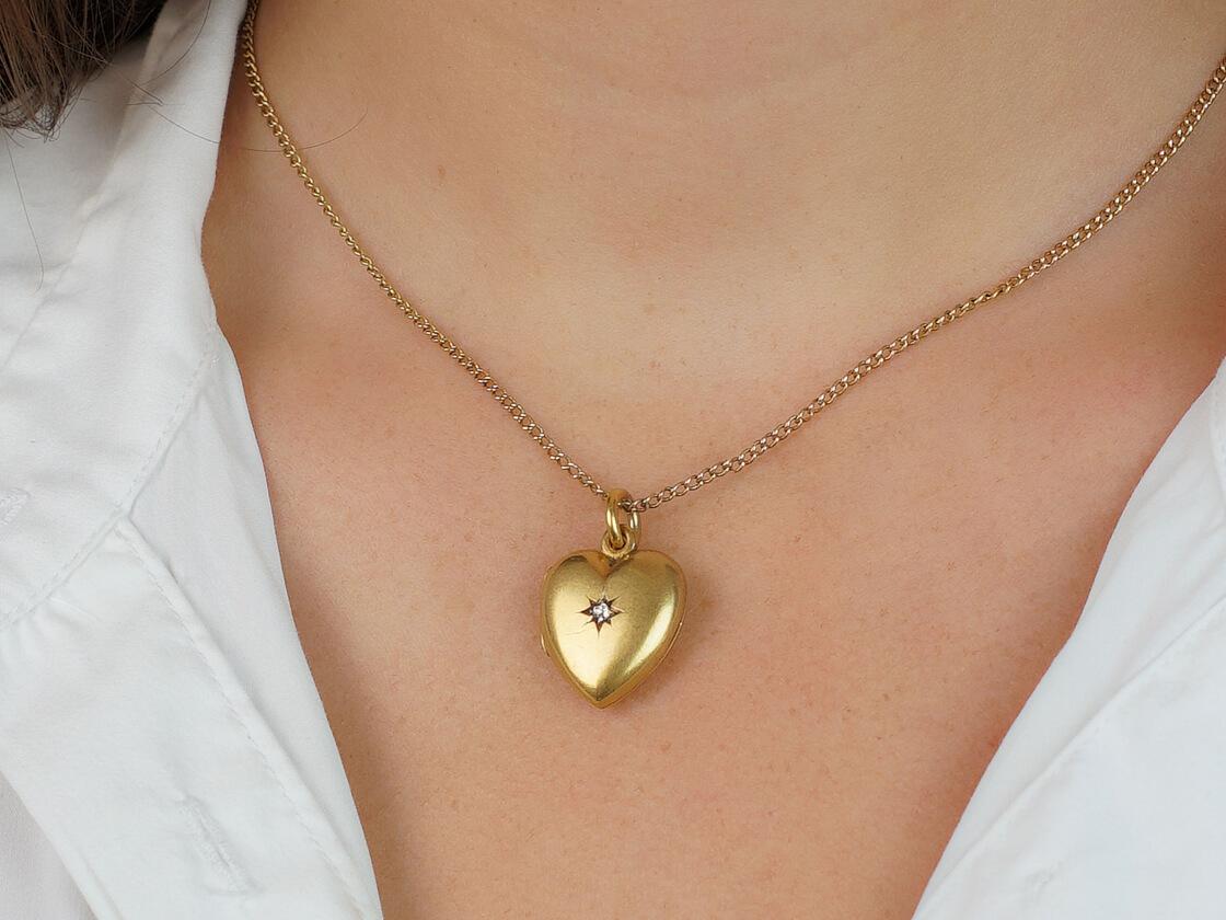 Edwardian Heart Shaped Locket set with a Diamond