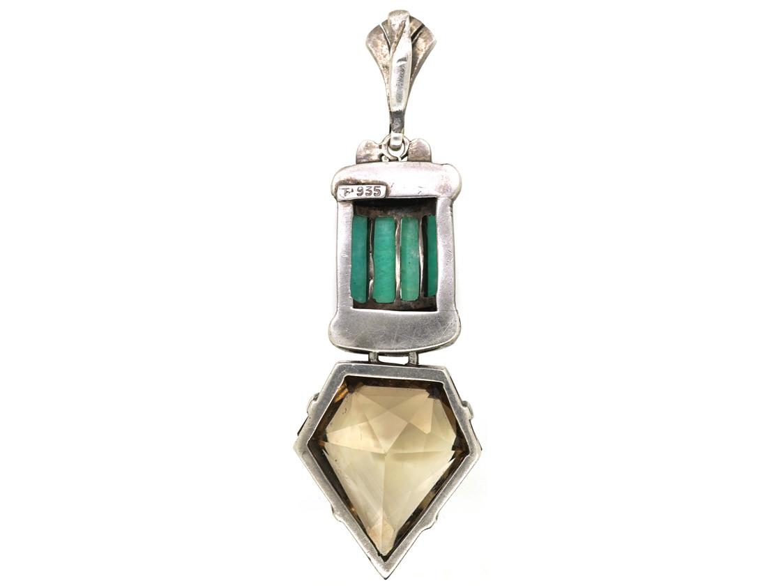 Art Deco Silver, Marcasite, Citrine & Amazonite Pendant by Theodor Fahrner