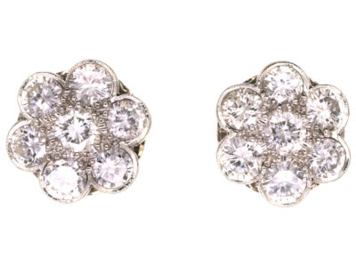 18ct White Gold & Diamond Large Cluster Earrings