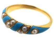 Regency 15ct Gold, Enamel & Natural Split Pearl Ring with Locket on Reverse