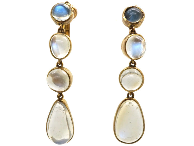 24b8a62fa Edwardian 9ct Gold & Moonstone Drop Earrings - The Antique Jewellery ...