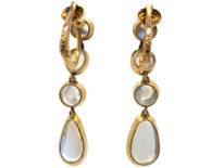 Edwardian 9ct Gold & Moonstone Drop Earrings