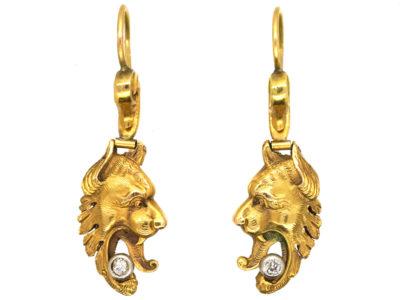 Edwardian 18ct Gold Griffin's Head Earrings