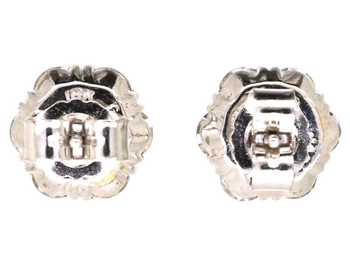 18ct White Gold Diamond Cluster Earrings by Jabel