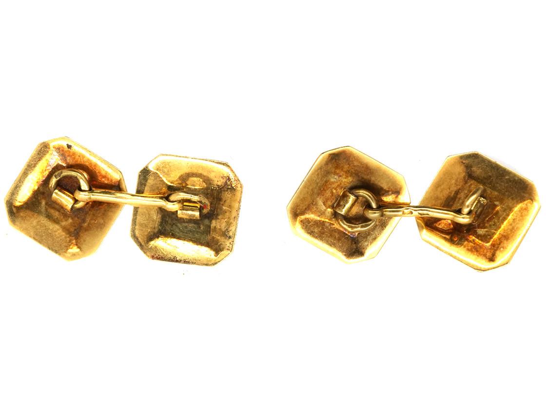 French Art Deco 18ct Gold & Red Enamel Octagonal Cufflinks