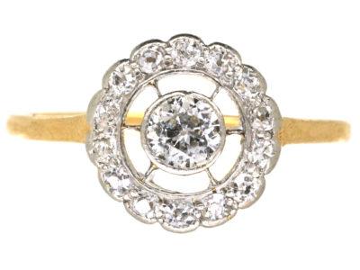 Art Deco 18ct Gold & Platinum, Diamond Set Target Ring