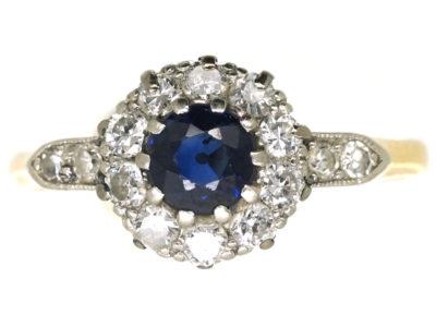 Edwardian 18ct Gold & Platinum, Sapphire & Diamond Cluster Ring with Diamond Set Shoulders