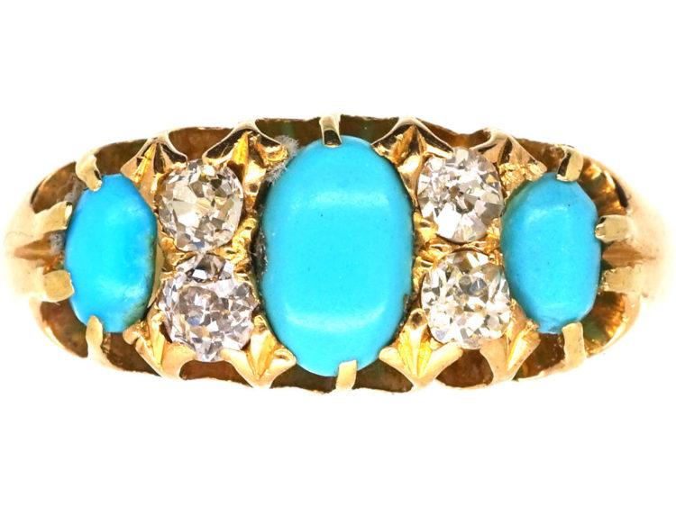 18ct Gold Three Stone Turquoise & Diamond Ring