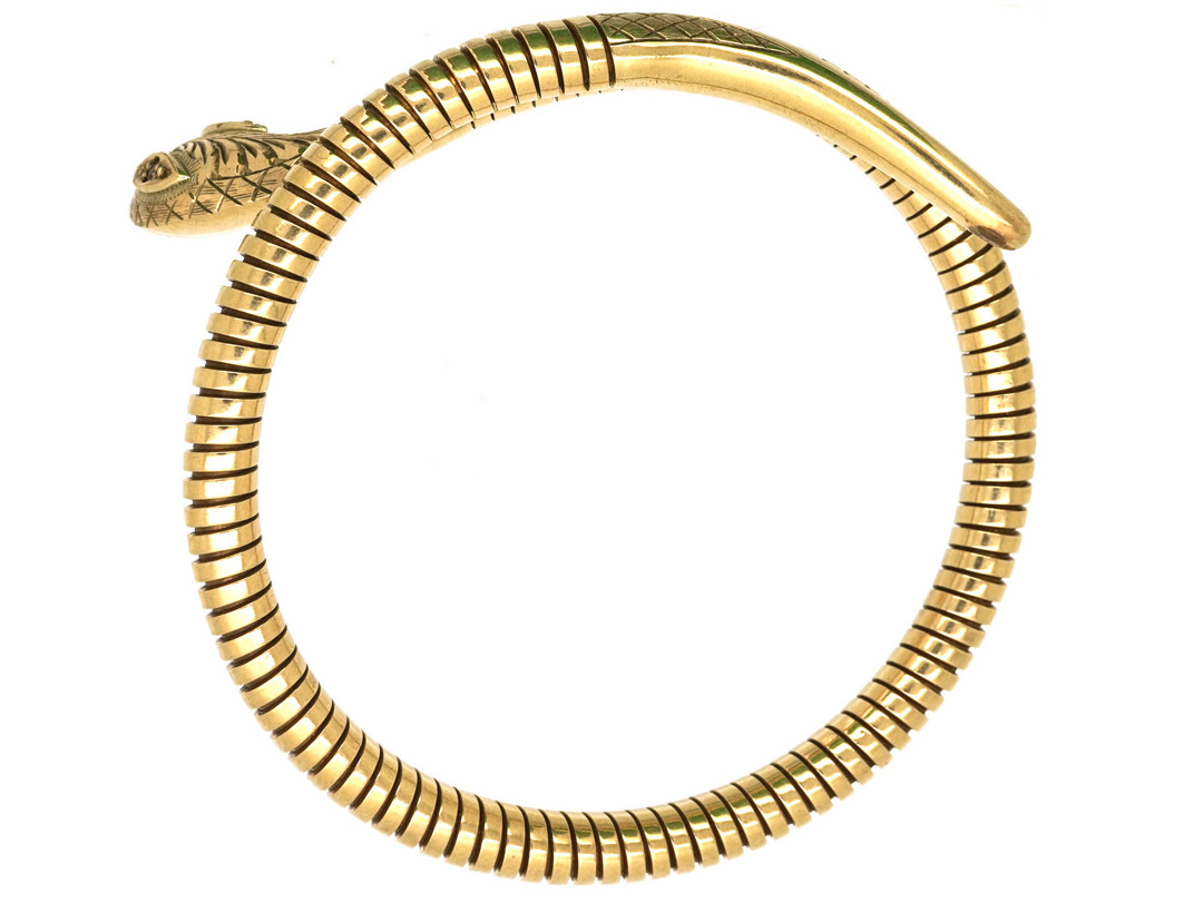 9ct Gold Snake Bangle with Ruby Eyes