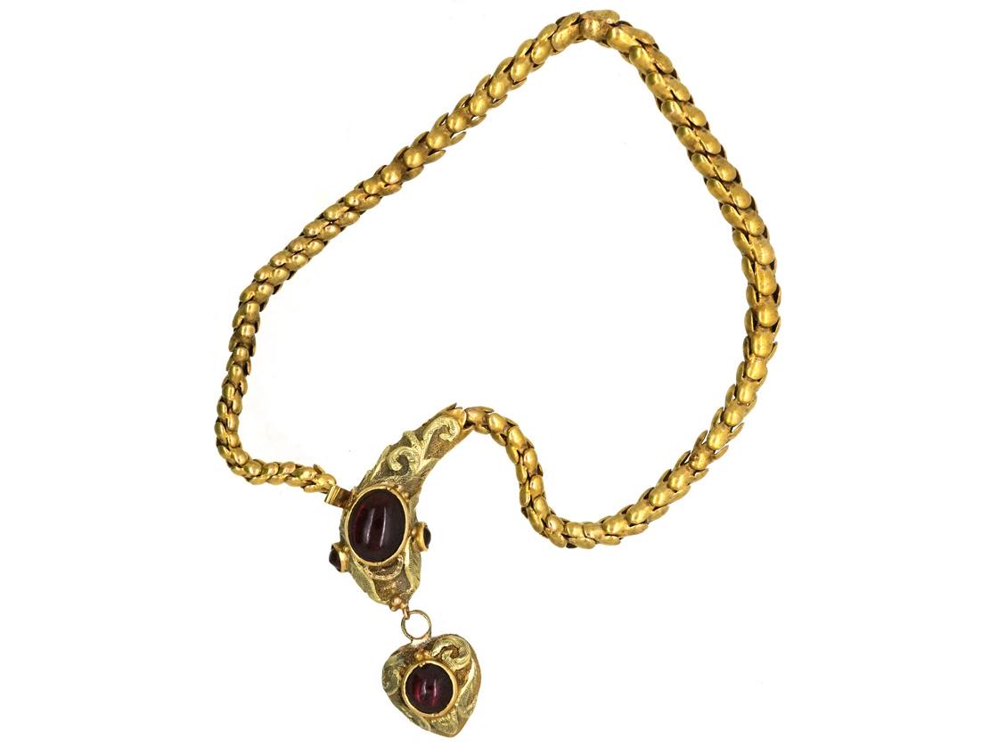 Victorian 15ct Gold & Cabochon Garnet Snake Bracelet in Original Case