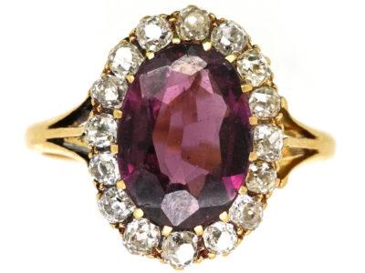 Edwardian 18ct Gold, Diamond & Large Oval Garnet Ring