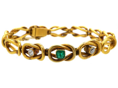 18ct Gold Emerald & Diamond Bracelet
