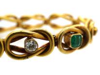 18ct Gold Emerald & Diamond Bracelet