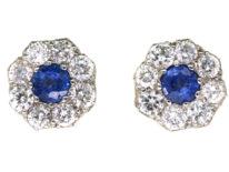 18ct Gold, Sapphire & Diamond Cluster Earrings