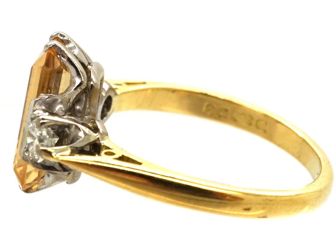 18ct Gold, Rectangular Topaz & Diamond Ring