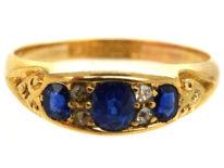Victorian 18ct Gold, Three Stone Sapphire & Diamond Ring