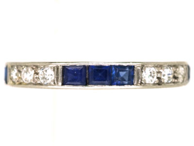 Art Deco Platinum, Diamond & Sapphire Eternity Ring