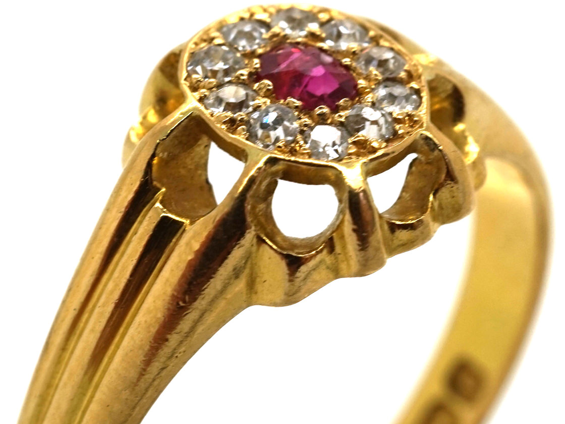 Victorian 18ct Gold Ruby & Diamond Cluster Ring
