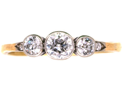 Edwardian 18ct Gold & Platinum, Three Stone Diamond Ring with Diamond Set Shoulders