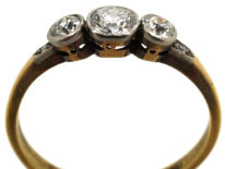 Edwardian 18ct Gold & Platinum, Three Stone Diamond Ring with Diamond Set Shoulders