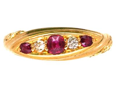 Edwardian 18ct Gold, Ruby & Diamond  Five Stone Ring
