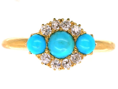 Edwardian 18ct Gold, Three Stone Turquoise & Diamond Ring