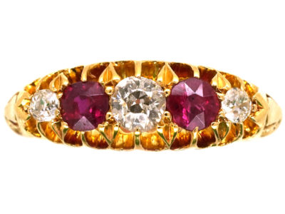 Edwardian 18ct Gold, Ruby & Diamond Five Stone Ring