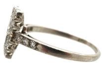 Art Deco Platinum & Diamond Rectangular Ring with Diamond Set Shoulders