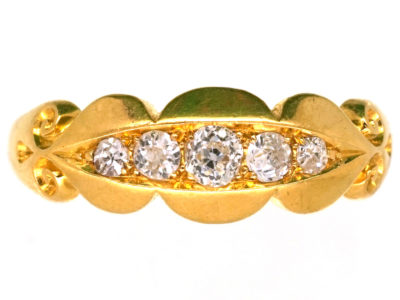 Edwardian 18ct Gold Five Stone Diamond Ring with Scalloped Edge