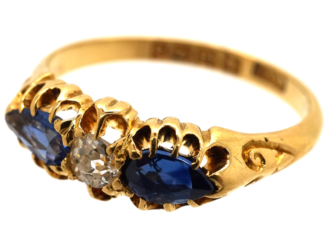 Edwardian 18ct Gold, Pear Shaped Sapphires & Diamond Ring