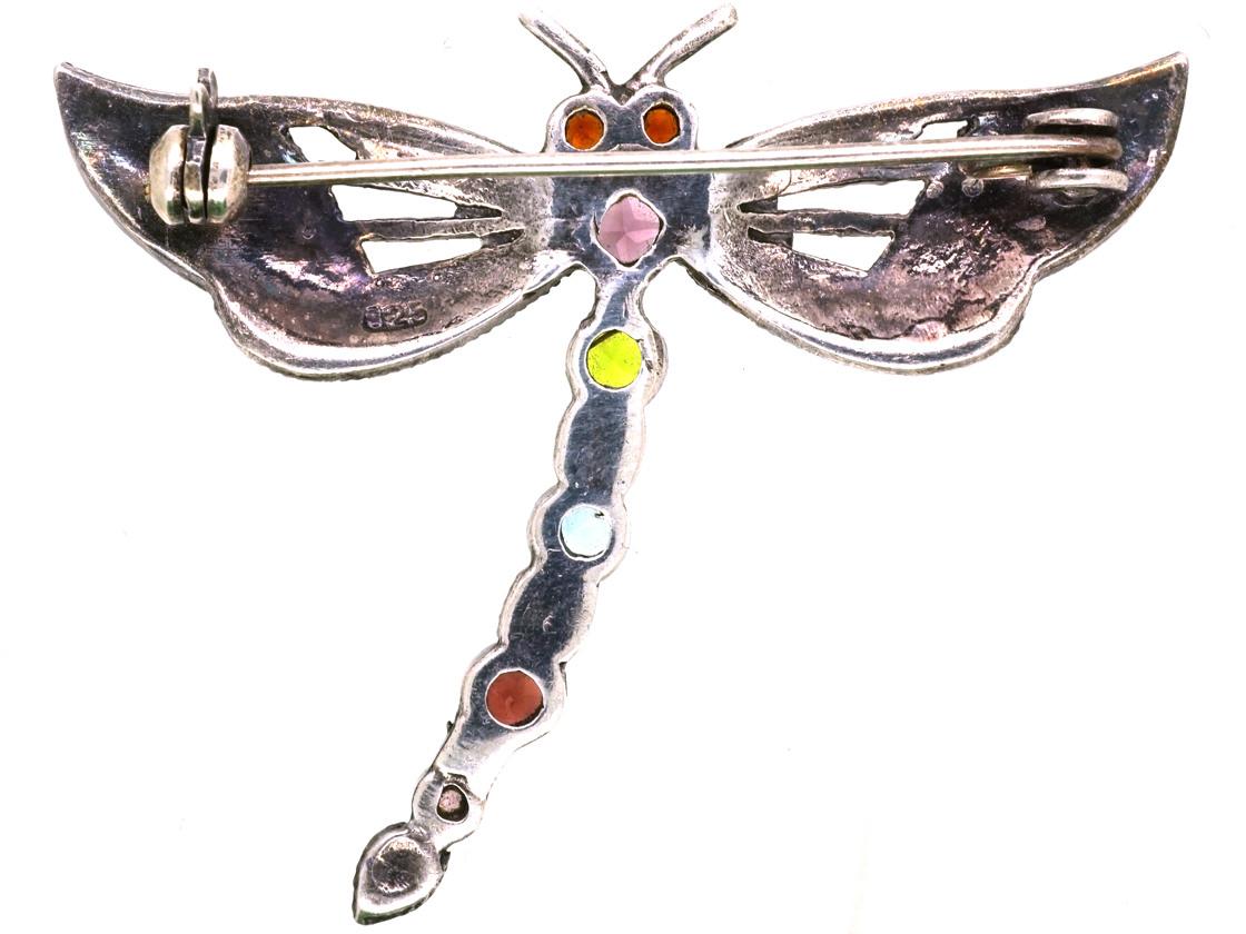 Silver, Marcasite & Gemstone Dragonfly Brooch